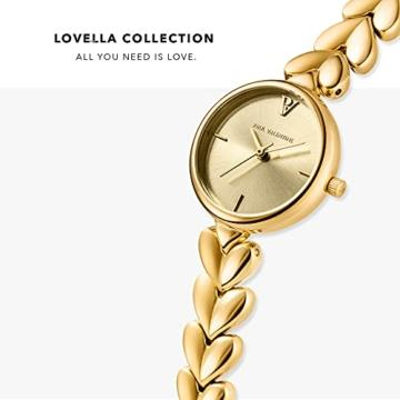 Paul Valentine - Lovella Damenuhr mit herzförmigen Gliedern - 26 mm - Edle Damen Uhr mit japanischem Quarzwerk - Spritzwassergeschützt - Armbanduhr für Damen (Lovella Gold 26mm) - 3