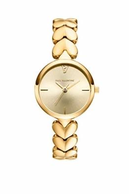 Paul Valentine - Lovella Damenuhr mit herzförmigen Gliedern - 26 mm - Edle Damen Uhr mit japanischem Quarzwerk - Spritzwassergeschützt - Armbanduhr für Damen (Lovella Gold 26mm) - 1
