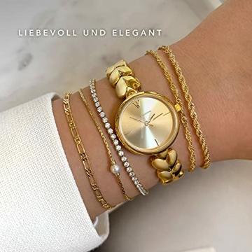 Paul Valentine - Lovella Damenuhr mit herzförmigen Gliedern - 26 mm - Edle Damen Uhr mit japanischem Quarzwerk - Spritzwassergeschützt - Armbanduhr für Damen (Lovella Gold 26mm) - 4