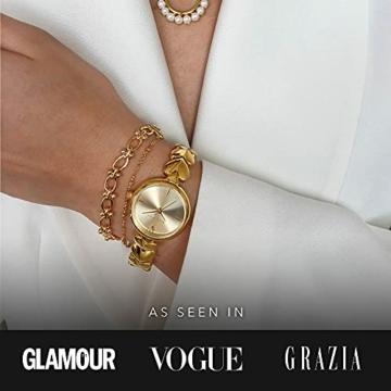 Paul Valentine - Lovella Damenuhr mit herzförmigen Gliedern - 26 mm - Edle Damen Uhr mit japanischem Quarzwerk - Spritzwassergeschützt - Armbanduhr für Damen (Lovella Gold 26mm) - 5