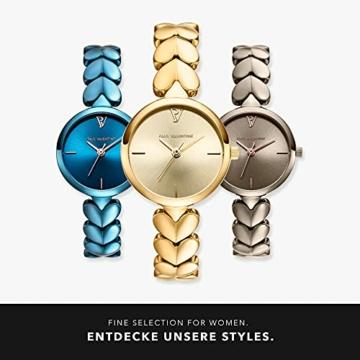 Paul Valentine - Lovella Damenuhr mit herzförmigen Gliedern - 26 mm - Edle Damen Uhr mit japanischem Quarzwerk - Spritzwassergeschützt - Armbanduhr für Damen (Lovella Gold 26mm) - 6