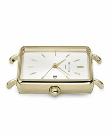 Rosefield Damen Analog Uhr The Boxy White Sunray Steel Gold - 4