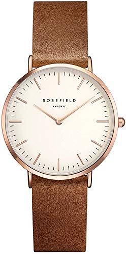 Rosefield Damen Analog Uhr The Tribeca Weiß Brown Roségold TWBRRC-T55 - 1