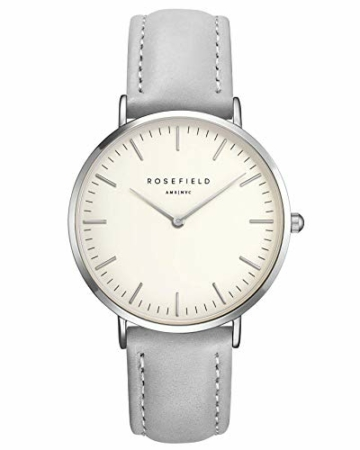 Rosefield Damen Uhr The Bowery: Roségold 38mm Rundes Gehäuse - Graues Band BWGS-B10 - 1