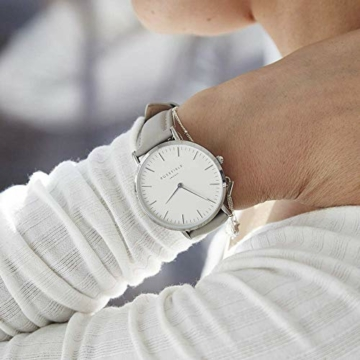 Rosefield Damen Uhr The Bowery: Roségold 38mm Rundes Gehäuse - Graues Band BWGS-B10 - 5