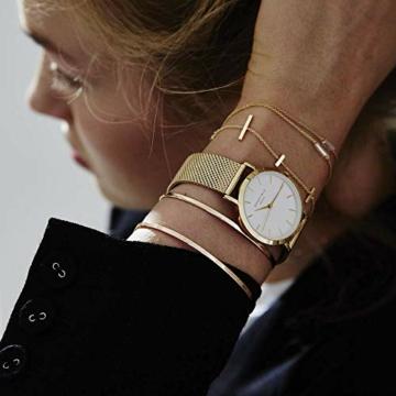Rosefield Damenuhr The Tribeca Gold 33mm Rundes Gehäuse mit Weißem Zifferblatt und goldenem Band - TWG-T51 - 5