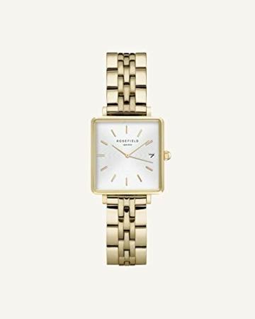 Rosefield Geschenkset The Boxy Armbanduhr Weißes Ziffernblatt Strahlenmuster Gold und Multi Liquid Charms Armband in Gold - BMWLBG-X241 - 3