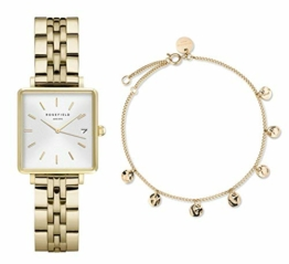 Rosefield Geschenkset The Boxy Armbanduhr Weißes Ziffernblatt Strahlenmuster Gold und Multi Liquid Charms Armband in Gold - BMWLBG-X241 - 1