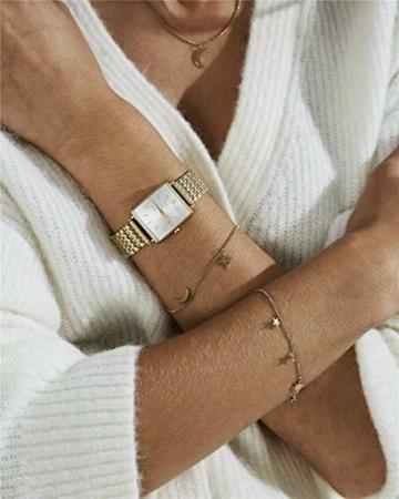 Rosefield Geschenkset The Boxy Armbanduhr Weißes Ziffernblatt Strahlenmuster Gold und Multi Liquid Charms Armband in Gold - BMWLBG-X241 - 4
