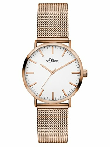 s.Oliver Damen Analog Quarz Armbanduhr mit Edelstahlarmband SO-3272-MQ - 1
