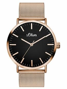 s.Oliver Damen Analog Quarz Armbanduhr mit Edelstahlarmband SO-3327-MQ - 1