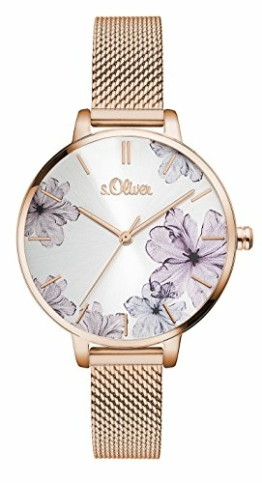 s.Oliver Damen Analog Quarz Armbanduhr mit Edelstahlarmband SO-3524-MQ - 1