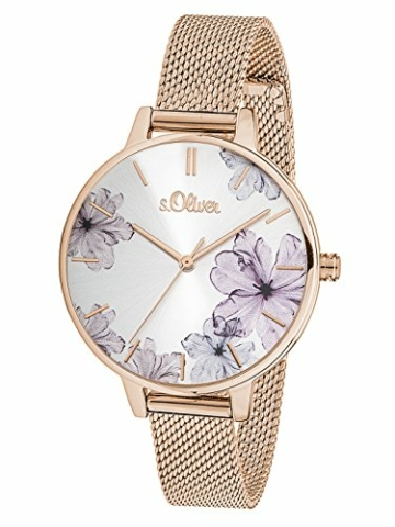 s.Oliver Damen Analog Quarz Armbanduhr mit Edelstahlarmband SO-3524-MQ - 3