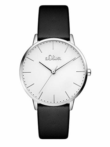 s.Oliver Damen Analog Quarz Armbanduhr mit Lederarmband SO-3440-LQ - 1