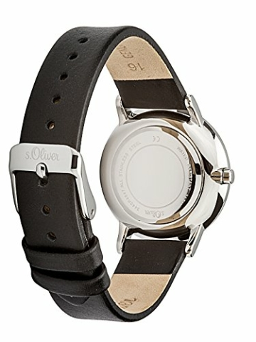 s.Oliver Damen Analog Quarz Armbanduhr mit Lederarmband SO-3440-LQ - 3