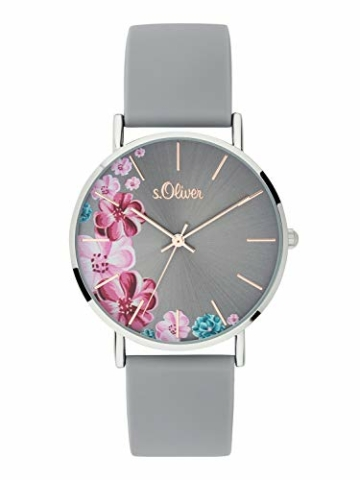 s.Oliver Damen Analog Quarz Armbanduhr mit Silikonarmband SO-3707-PQ - 1