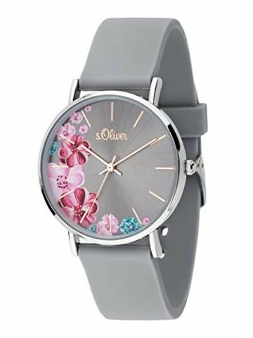 s.Oliver Damen Analog Quarz Armbanduhr mit Silikonarmband SO-3707-PQ - 2