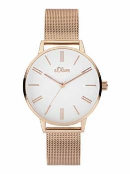 s.Oliver Damen Analoger Quarz Uhr mit Edelstahl Armband SO-3893-MQ, IP Roségold - 1
