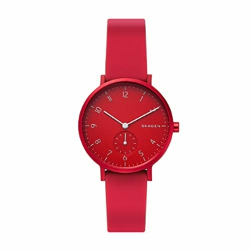 Skagen Unisex Erwachsene Analog Quarz Uhr mit Silikon Armband SKW2765 - 1