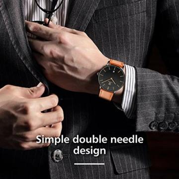 Uhren,Herren Uhr Flache Analog Quarz Datumsanzeiger Klassisch Mode Wasserdicht Armbanduhr mit Leder Armband - 2
