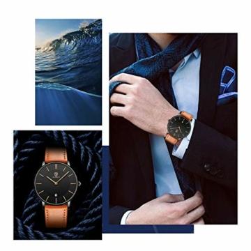 Uhren,Herren Uhr Flache Analog Quarz Datumsanzeiger Klassisch Mode Wasserdicht Armbanduhr mit Leder Armband - 3