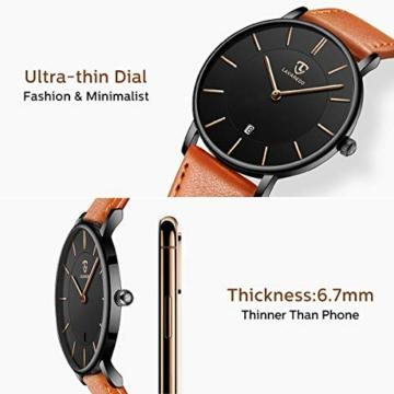 Uhren,Herren Uhr Flache Analog Quarz Datumsanzeiger Klassisch Mode Wasserdicht Armbanduhr mit Leder Armband - 4