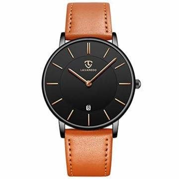 Uhren,Herren Uhr Flache Analog Quarz Datumsanzeiger Klassisch Mode Wasserdicht Armbanduhr mit Leder Armband - 1