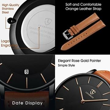 Uhren,Herren Uhr Flache Analog Quarz Datumsanzeiger Klassisch Mode Wasserdicht Armbanduhr mit Leder Armband - 5