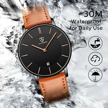 Uhren,Herren Uhr Flache Analog Quarz Datumsanzeiger Klassisch Mode Wasserdicht Armbanduhr mit Leder Armband - 6
