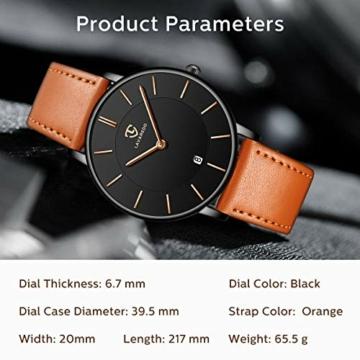 Uhren,Herren Uhr Flache Analog Quarz Datumsanzeiger Klassisch Mode Wasserdicht Armbanduhr mit Leder Armband - 7